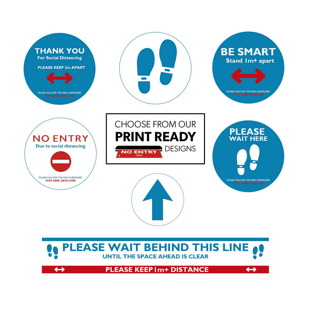 1x Banner 12 Floor Stickers 2 Entrance Notices Social Distancing Kit