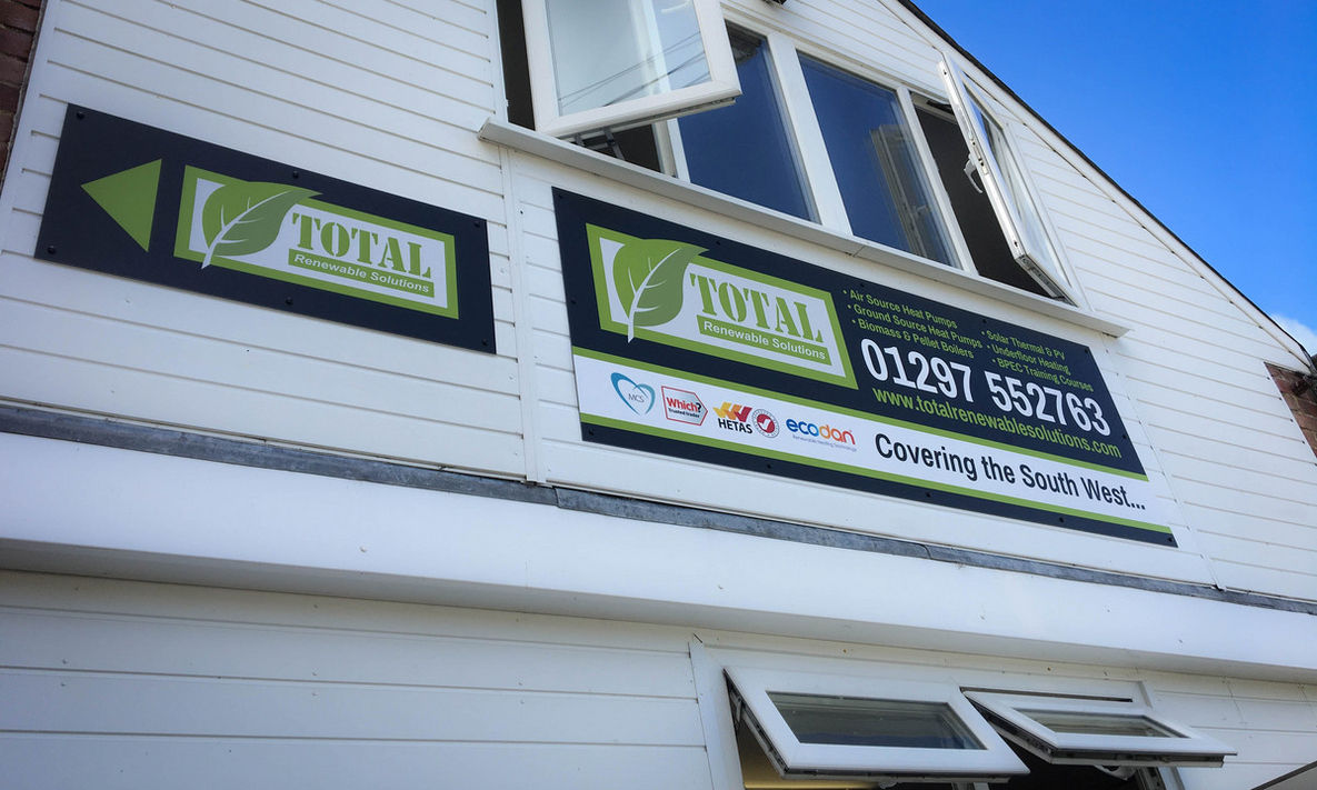 External Signs for Total Renewables in Colyton, Devon
