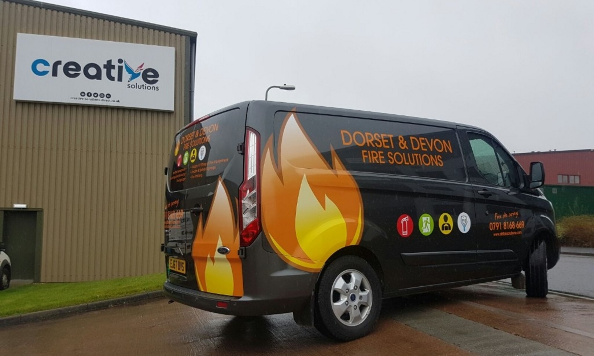 Van Graphics Installation for Dorset and Devon Fire Solutions
