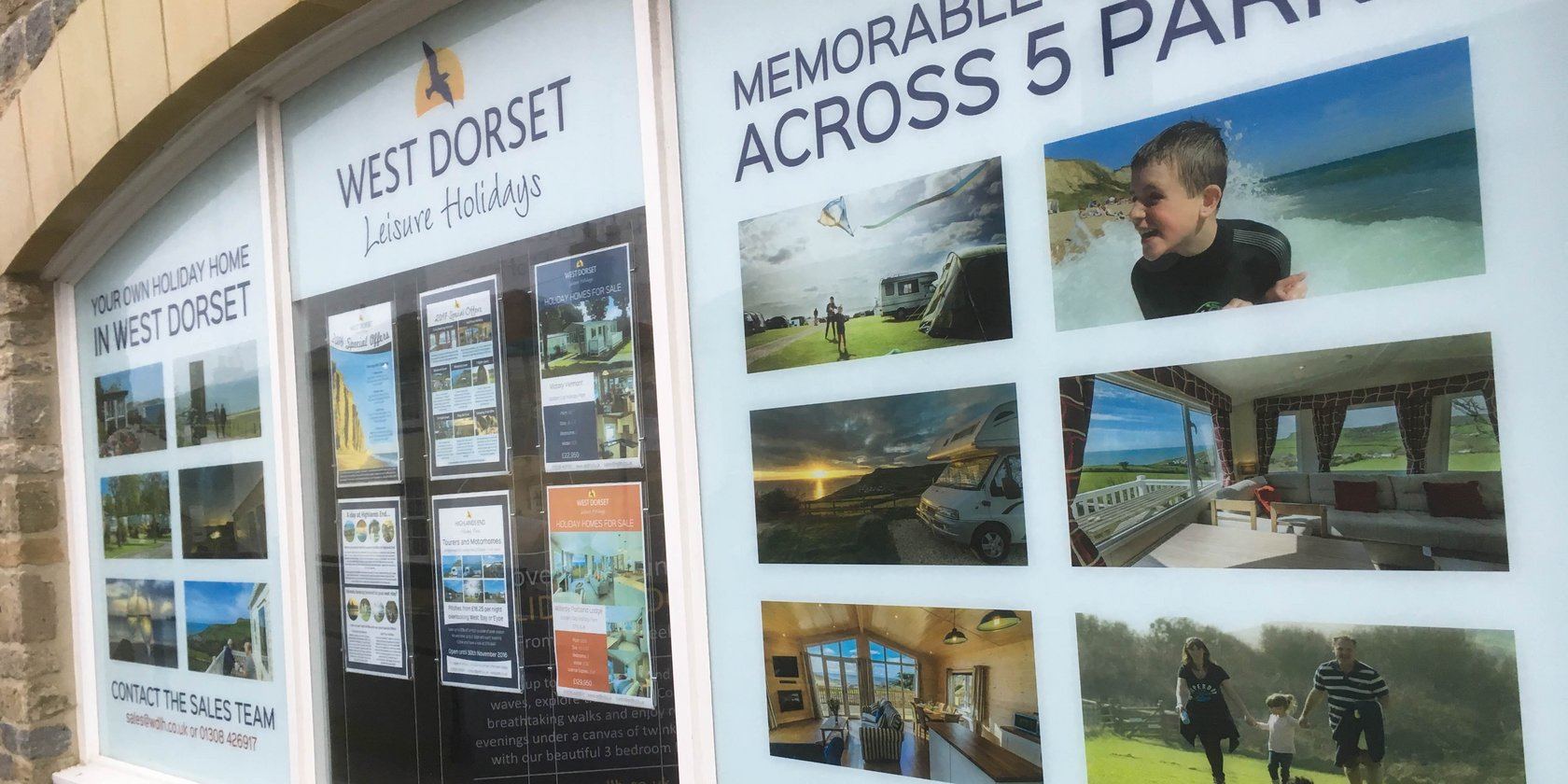 Window Graphics for West Dorset Leisure Holidays