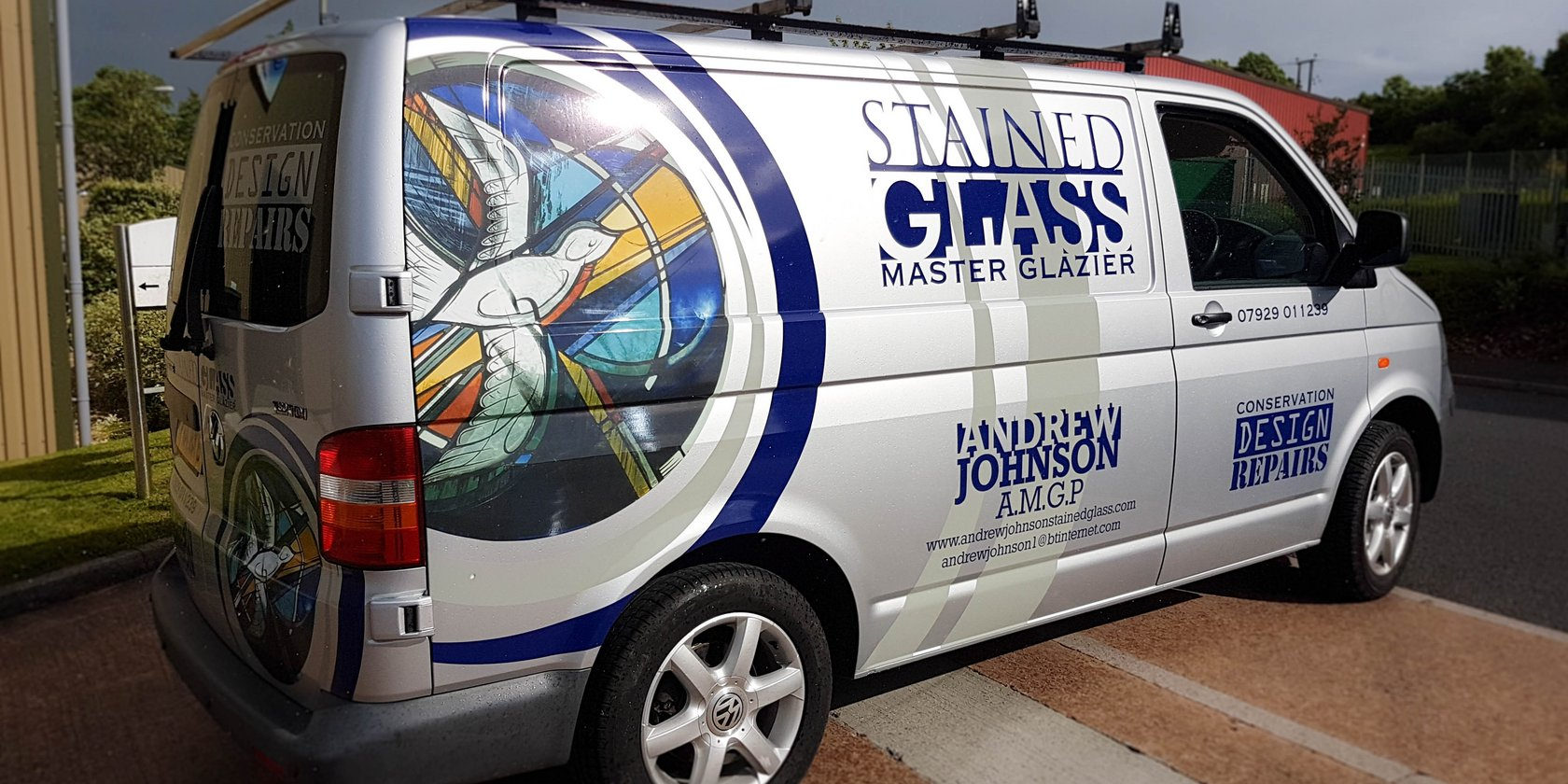 Andrew Johnson Stained Glass Vehicle Signwriting