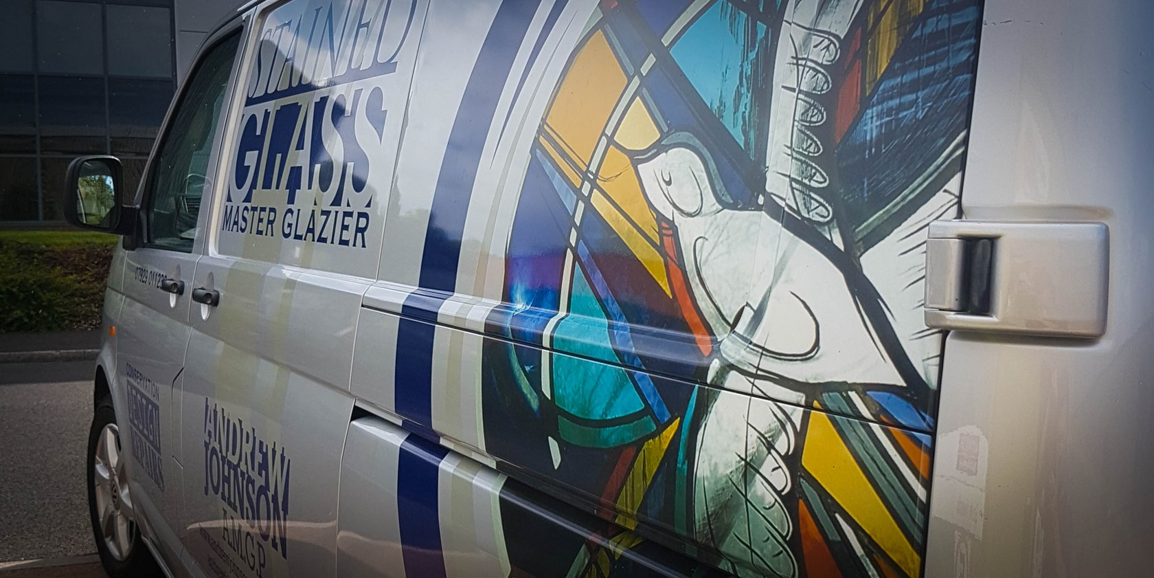 Van Signwriting Andrew Johnson Stained Glass