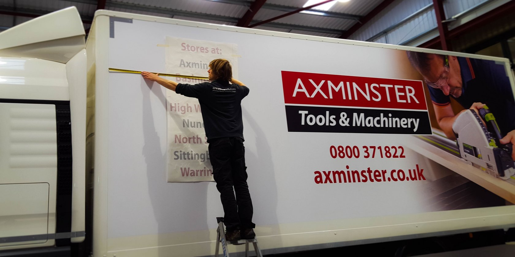Lorry Graphics being applied by Creative Solutions for Axminster Tools