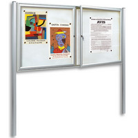 Tradition Magnetic Exterior Lockable Notice Board   Double Hinged Doors  Incl. Post Kit
