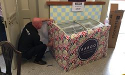 Vinyl Wrapping a freezer for Baboo Gelato