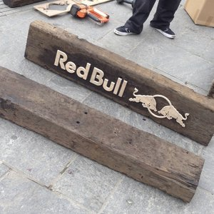 Custom Shaped Red Bull Wooden Signs