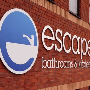 Escape Bathrooms Stand Off Lettering Signage