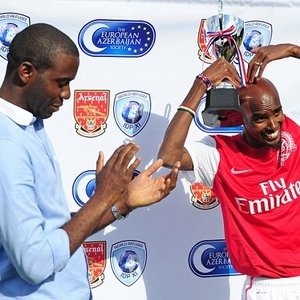 Exhibition Backdrop for Arsenal FC Charity Match featuring Mo Farah