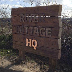 River Cottage Wooden Sleeper Sign with Metal Lettering