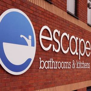 Escape Bathroom and Kitchens Sign Lettering