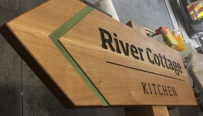 Bespoke wooden sign being created for River Cottage