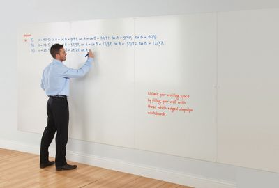 Frameless Whiteboard Wall Write On