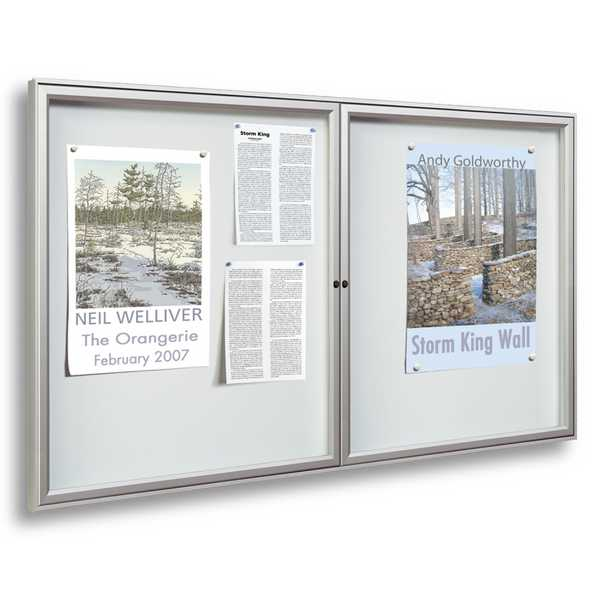 Allure Magnetic Lockable Notice Board - Double Hinged Doors