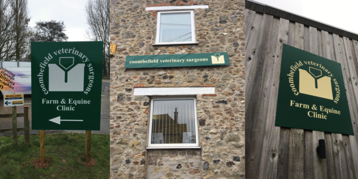 Coombefield Vets Replacement Signage Axminster & Seaton