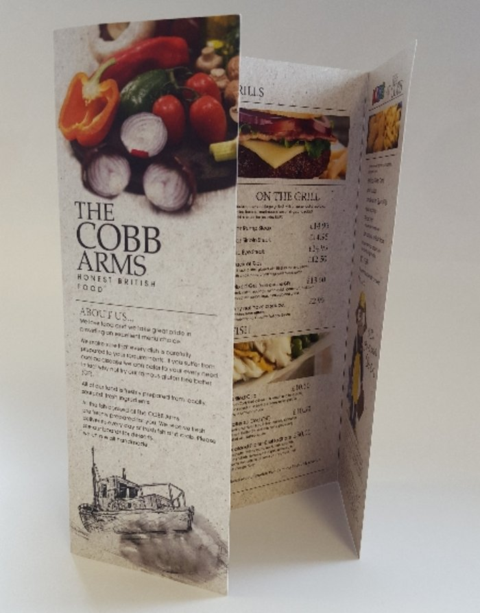 The Cobb Arms Menu Design