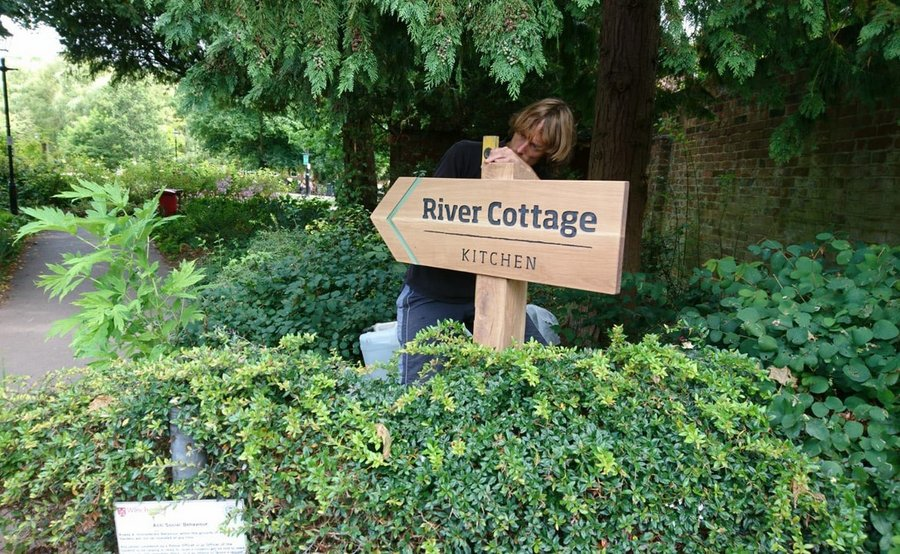 River Cottage Signs in Winchester being installed