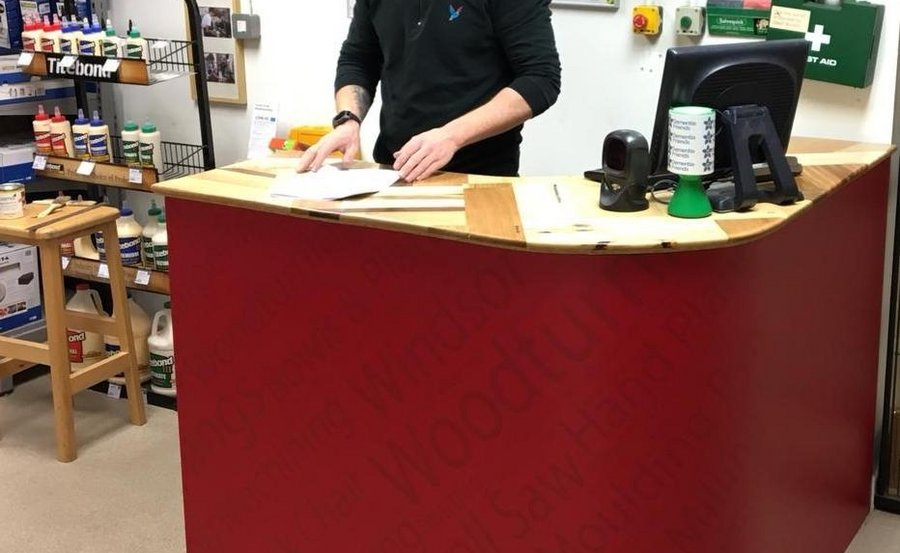 Wooden counter top at Axminster Tools