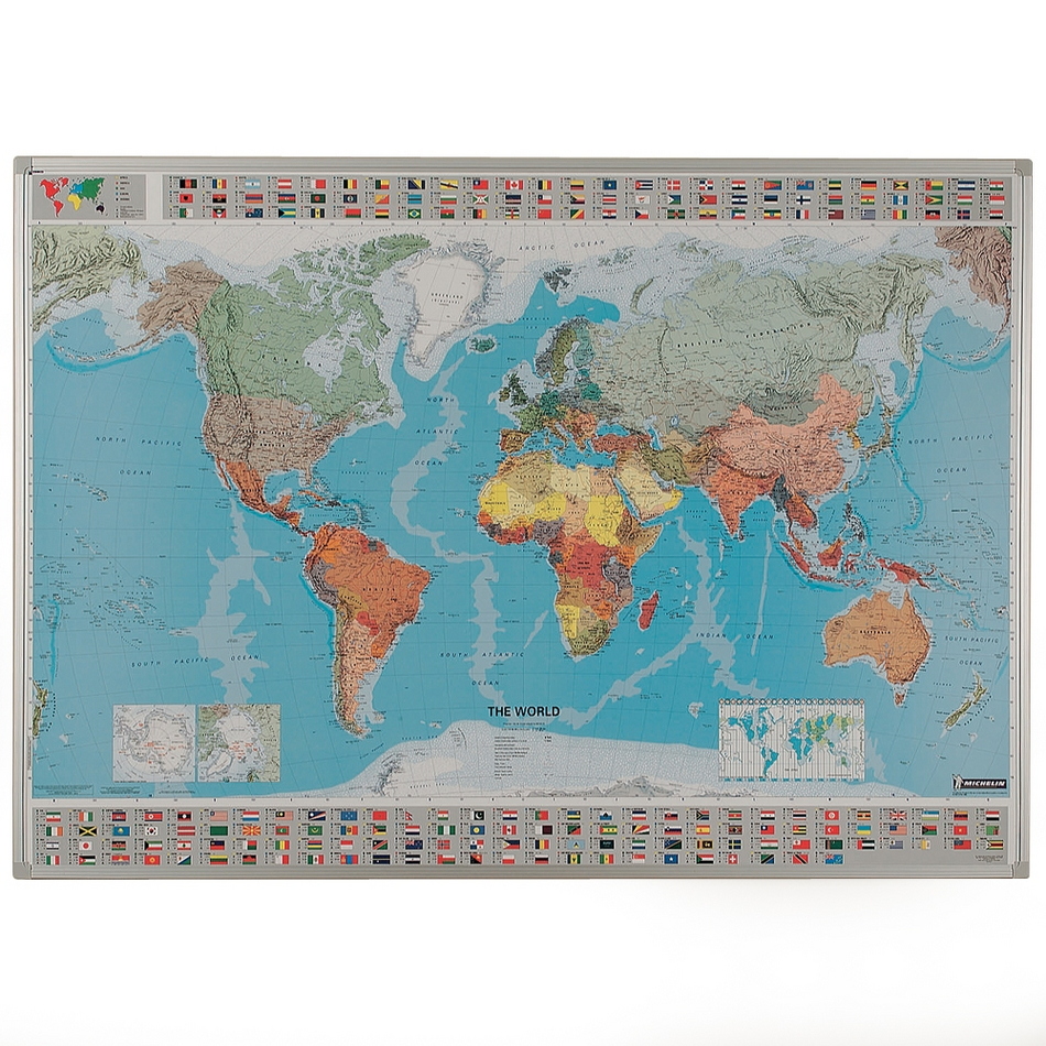 World Map Framed Drywipe Whiteboard
